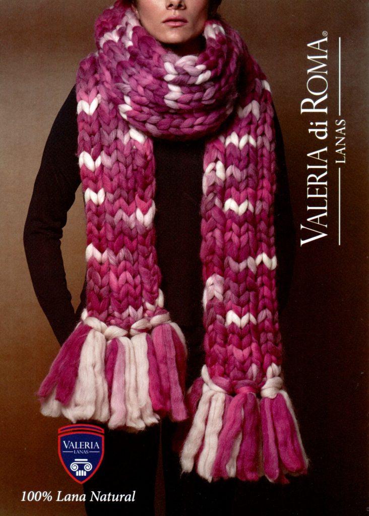 Bufanda fucsia en lana 100% en mecha